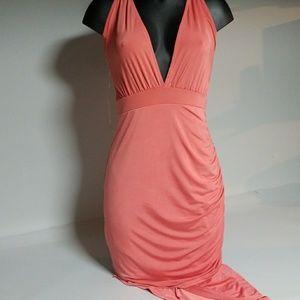 Charlotte Russe coral spandex dress Sz Medium